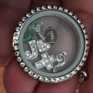 "Origami Owl rhinestone locket w charms & 30"" chain"